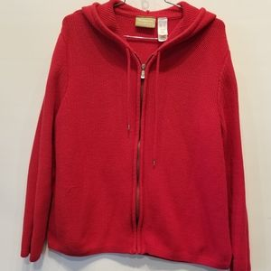 Liz Claiborne Women's Red Hooded Cardigan XL